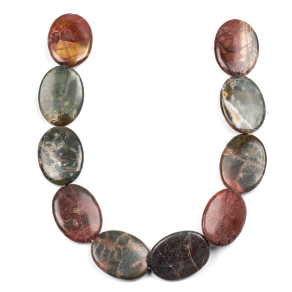 Red Cherry Creek Jasper 30x40mm Oval Beads - 15 inch strand