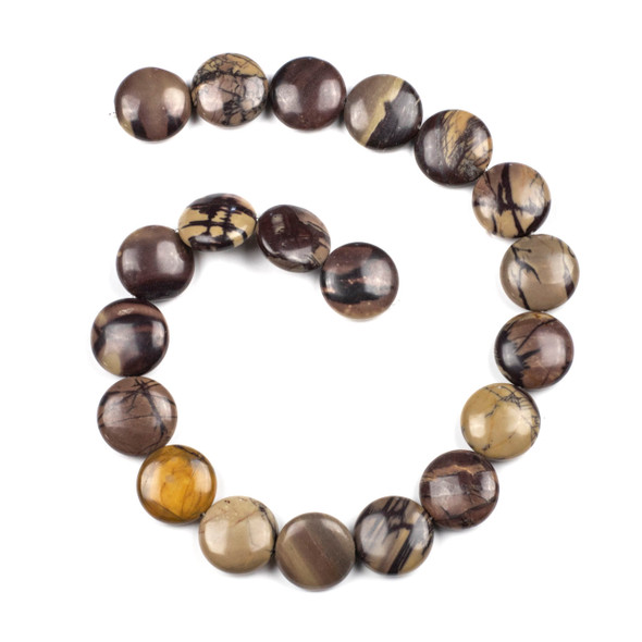 Purple Cherry Creek Jasper 20mm Coin Beads - 16 inch strand