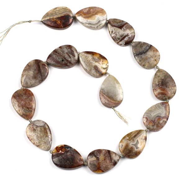 Laguna Lace Agate 18x24mm Teardrop Beads - 16 inch knotted strand