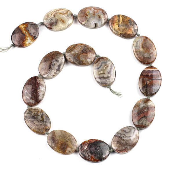 Laguna Lace Agate 18x24mm Oval Beads - 16 inch knotted strand