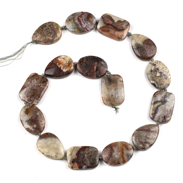 Laguna Lace Agate 18x24mm Alternating Oval, Rectangle, and Teardrop Beads - 16 inch knotted strand