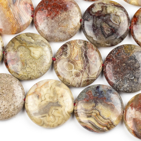 Laguna Lace Agate 30mm Coin Beads - 16 inch strand