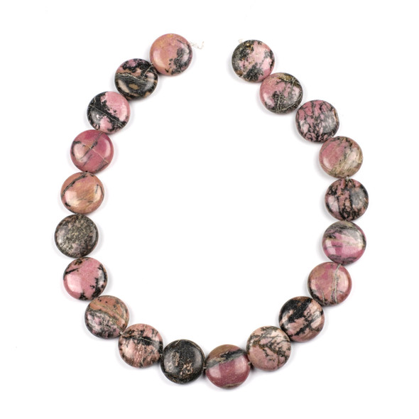 Rhodonite with Matrix 20mm Coin Beads - 15 inch strand