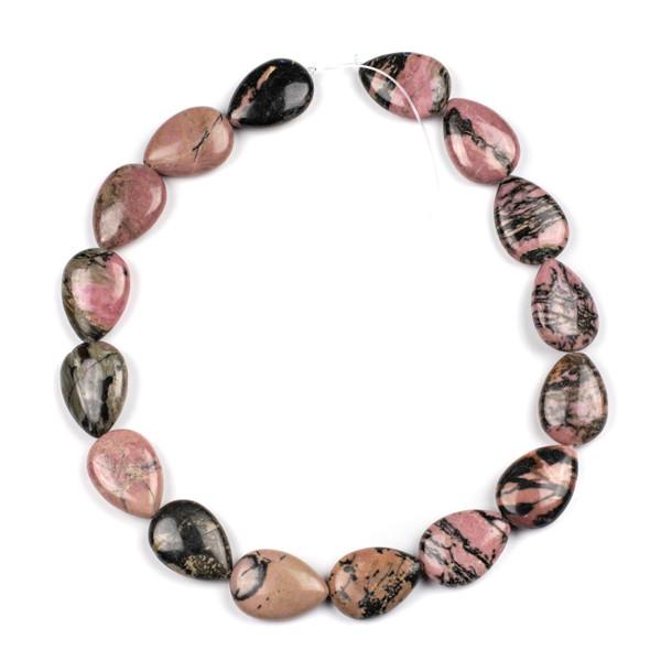 Rhodonite with Matrix 18x25mm Teardrop Beads - 15 inch strand