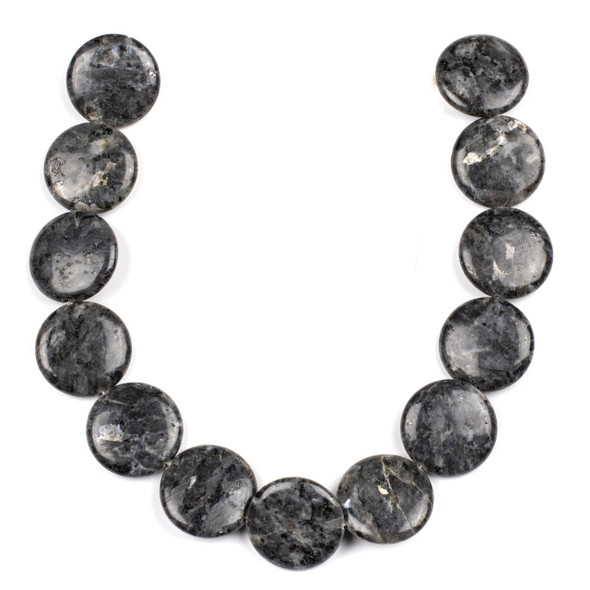 Black Labradorite/Larvikite 30mm Coin Beads - 15 inch strand