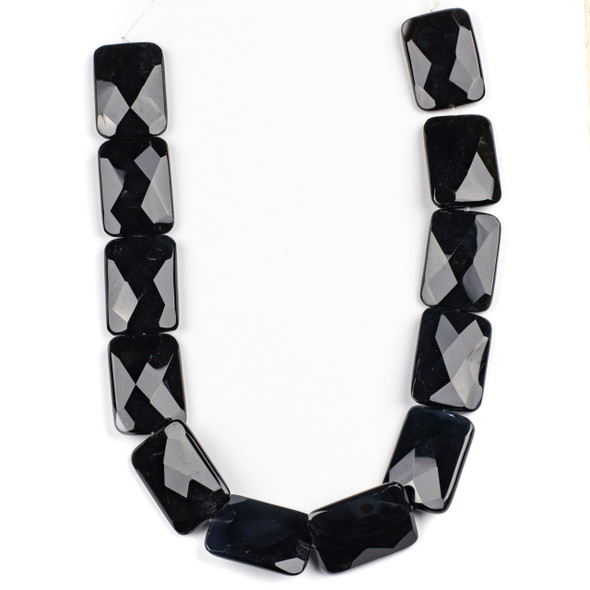 Black Agate 25x35mm Faceted Rectangle Beads - 16 inch strand