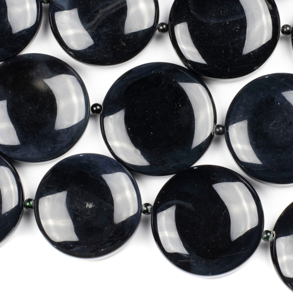Black Agate 40-43mm Coin Beads alternating with 4mm Round Beads- 16 inch strand