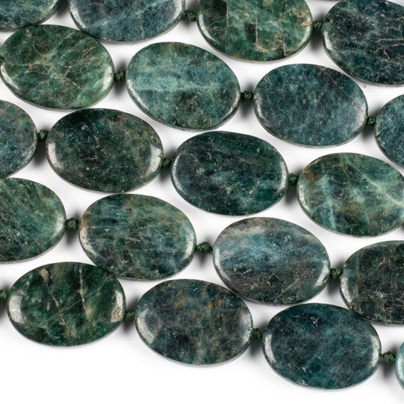 Brazilian Apatite 18x25mm Oval Beads - 16 inch knotted strand