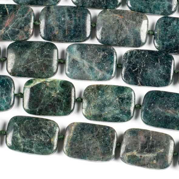Brazilian Apatite 18x25mm Rectangle Beads - 16 inch knotted strand