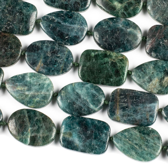Brazilian Apatite 18x25mm Alternating Oval, Rectangle, and Teardrop Beads - 16 inch knotted strand