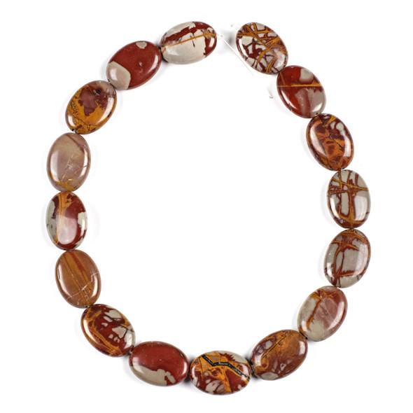 Australian Red Picture Jasper (Noreena Jasper) 18x25mm Oval Beads - 16 inch knotted strand