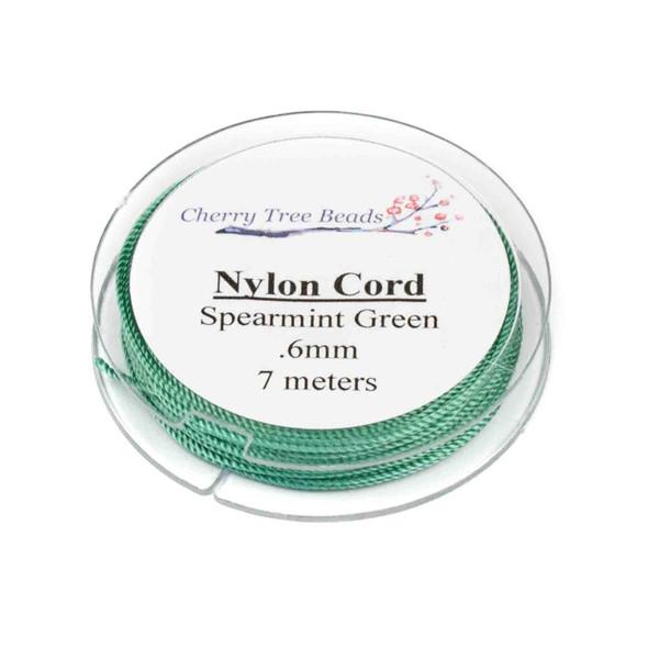 Nylon Cord - Spearmint Green, .6mm, 7 meter spool
