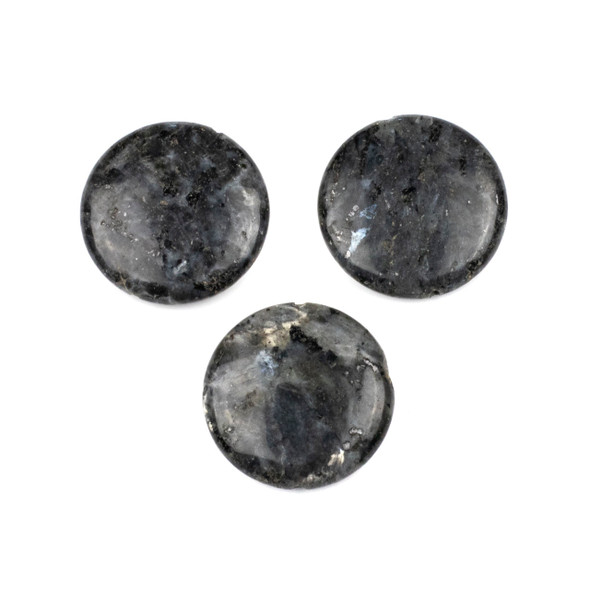 Black Labradorite/Larvikite 30mm Coin Center Through Drilled Pendant - 1 per bag