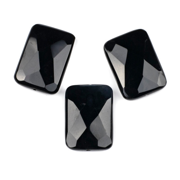 Black Agate 25x35mm Faceted Rectangle Center Through Drilled Pendant - 1 per bag