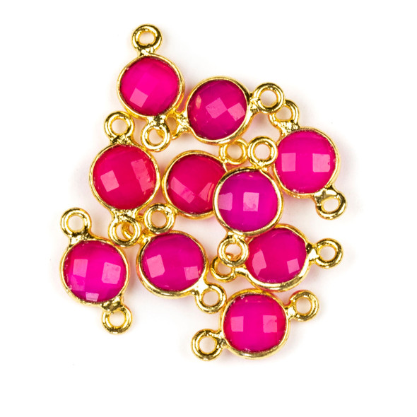 Hot Pink Chalcedony 7x13mm Faceted Coin Link with a Gold Plated Brass Bezel and Loops - 1 per bag