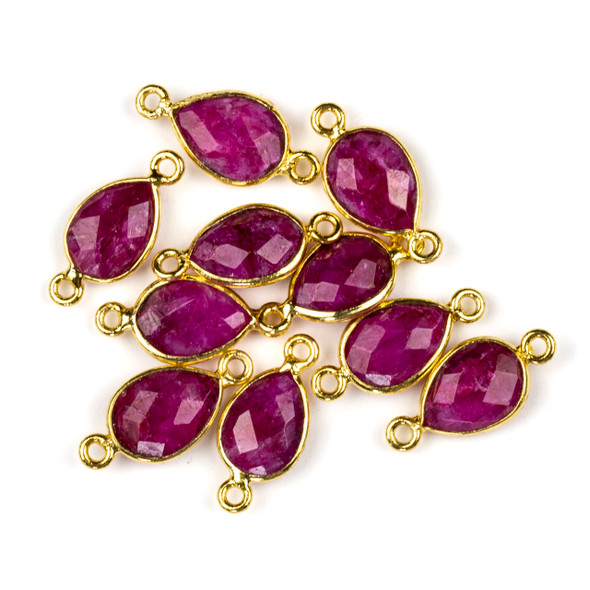 Ruby 8x17mm Faceted Teardrop Link with a Gold Plated Brass Bezel and Loops - 1 per bag
