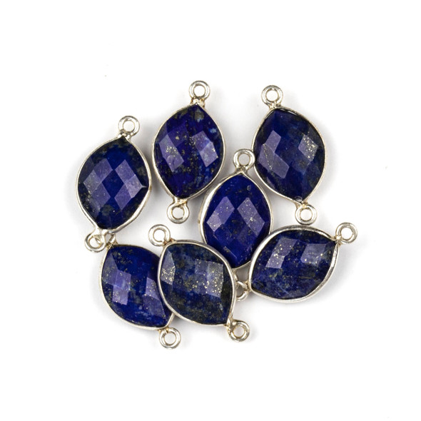 Lapis 10x20mm Faceted Marquis Link with a Silver Plated Brass Bezel and Loops - 1 per bag