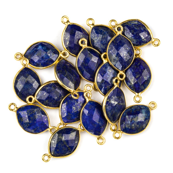 Lapis 10x20mm Faceted Marquis Link with a Gold Plated Brass Bezel and Loops - 1 per bag