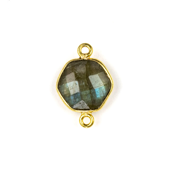 Labradorite 12x17mm Faceted Hexagon Link with a Gold Plated Brass Bezel and Loops - 1 per bag