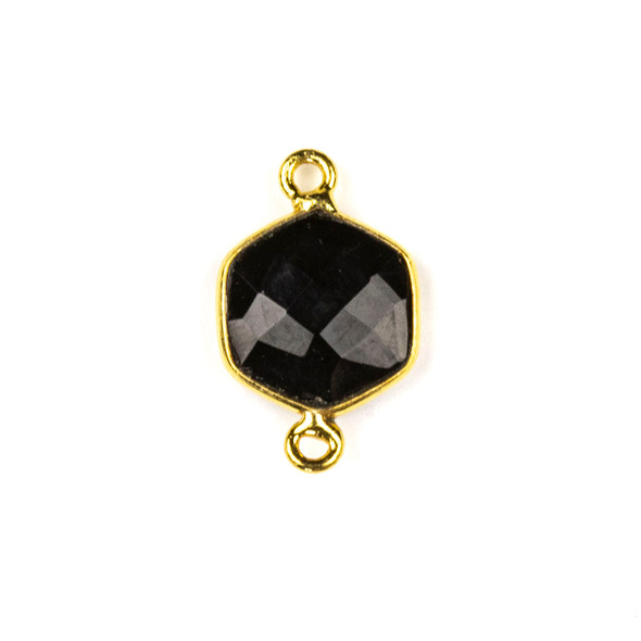 Onyx 12x17mm Faceted Hexagon Link with a Gold Plated Brass Bezel and Loops - 1 per bag