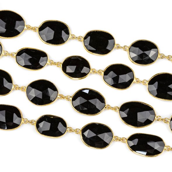 Handmade Gold Plated Brass Chain with Onyx 7x13mm Faceted Free From Bezeled Links - 1 foot