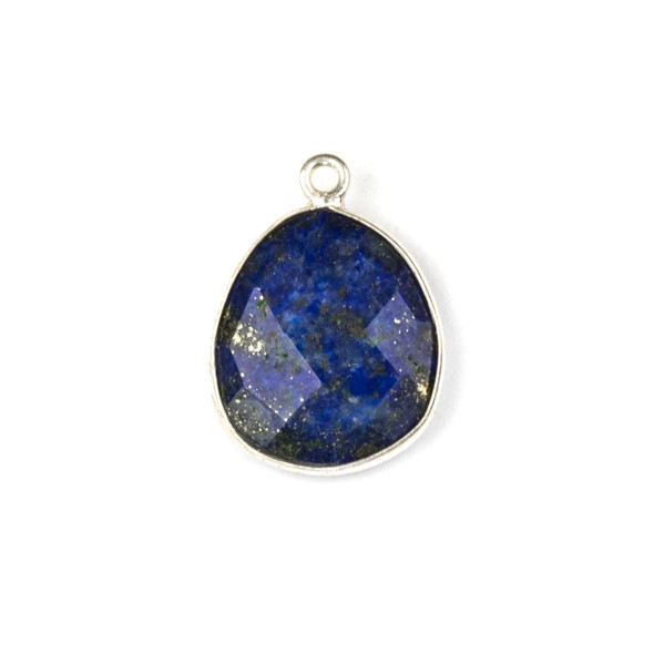 Lapis 14x19mm Faceted Free Form Drop with a Silver Plated Brass Bezel and Loop - 1 per bag