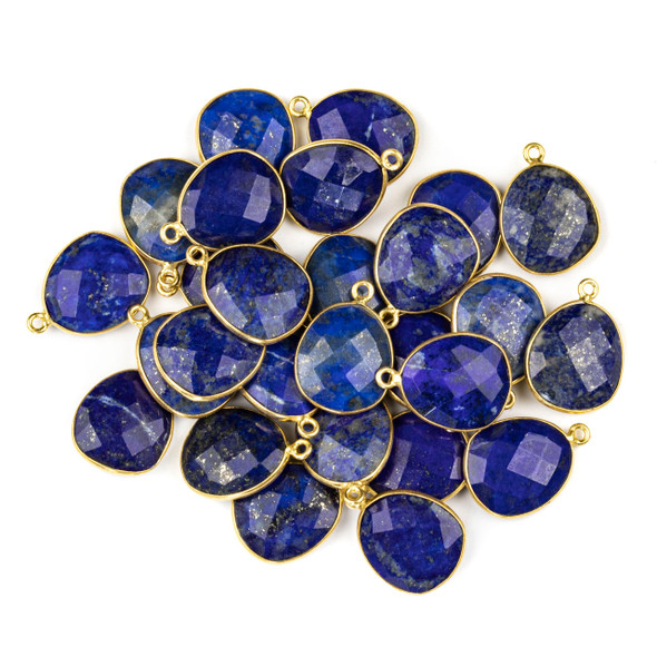 Lapis 14x19mm Faceted Free Form Drop with a Gold Plated Brass Bezel and Loop - 1 per bag