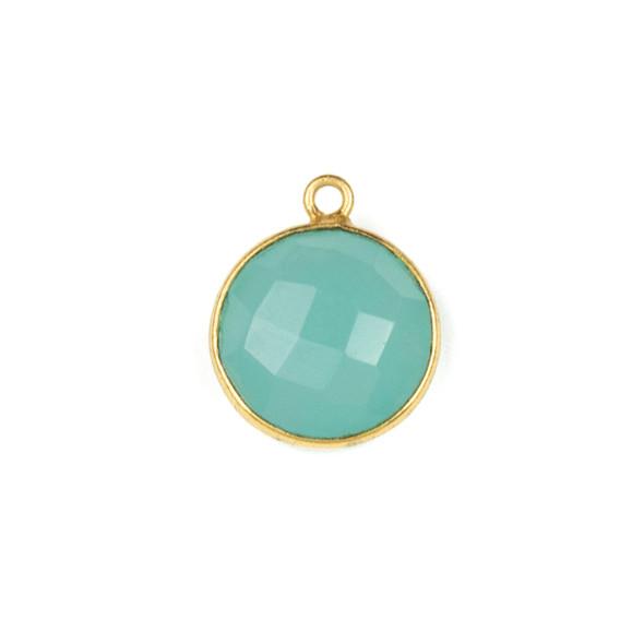 Aqua Chalcedony 13x15mm Coin Drop with a Gold Plated Brass Bezel - 1 per bag