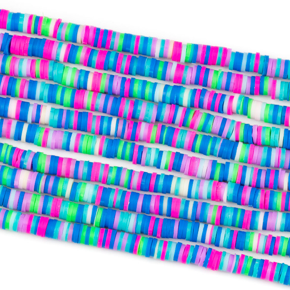 Polymer Clay 1x6mm Heishi Beads - Hot Pink & Blue Mix #32, 15 inch strand