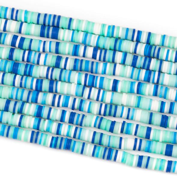 Polymer Clay 1x6mm Heishi Beads - Blue Lagoon Mix #33, 15 inch strand