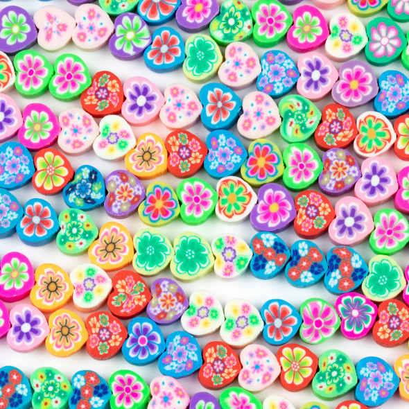 Polymer Clay 9x10mm Heart Beads - Floral Mix #35, 15 inch strand