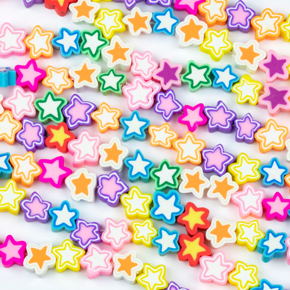 Polymer Clay 10mm Star Beads - Pastel Mix #37, 15 inch strand