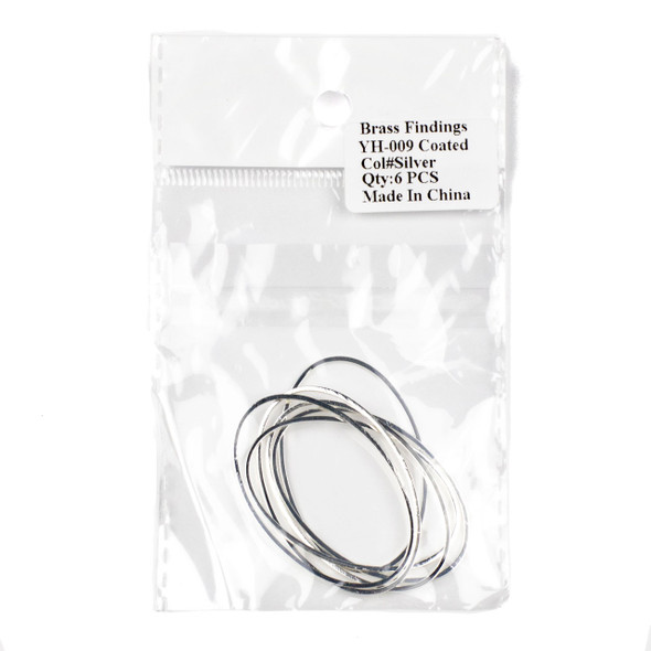 Coated Silver Plated Brass 30x46mm Oval Hoop Components - 6 per bag - CTBYH-009sc