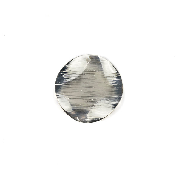 Coated Silver Plated Brass 25mm Wavy Textured Coin Drop Components - 6 per bag - CTBYH-011sc