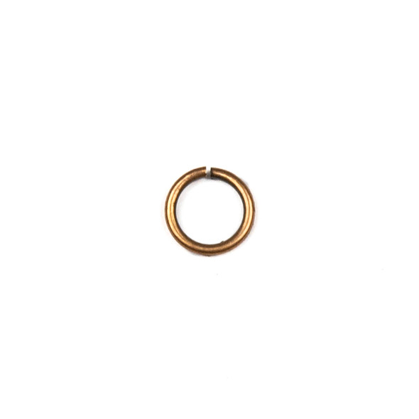 Vintage Copper Plated Brass 6mm Open Jump Rings - 21 gauge - approx. 50 per bag - CTB-21gopenrg.8x6vc