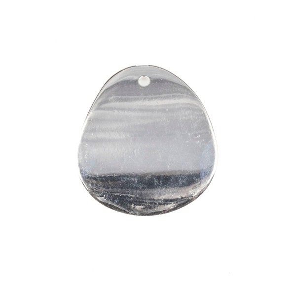 Coated Silver Plated Brass 24x27mm Concave Rounded Teardrop Drop Components - 6 per bag - CTBYH-003sc