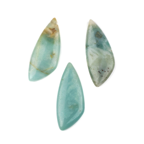 Amazonite 20x48mm Top Drilled Triangle Free Form Pendant - 1 per bag