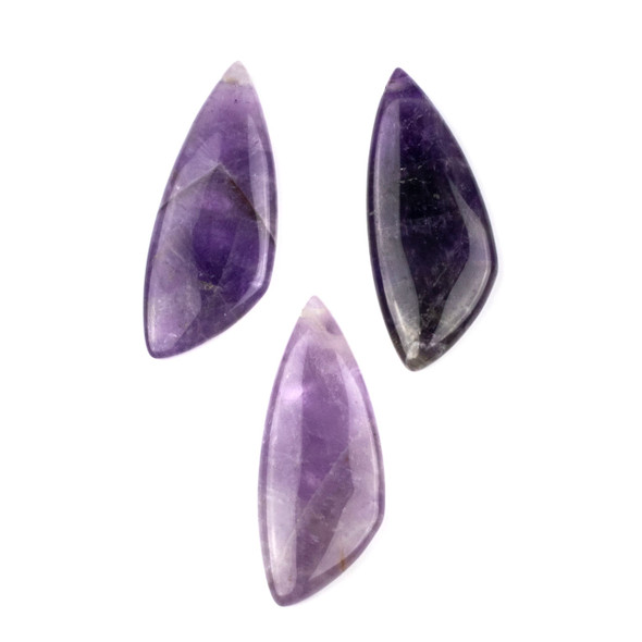 Amethyst 20x48mm Top Drilled Triangle Free Form Pendant - 1 per bag
