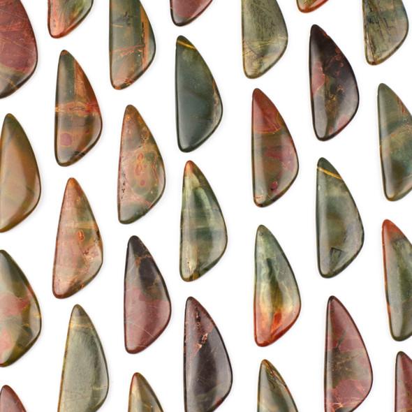 Red Cherry Creek Jasper 20x48mm Top Drilled Triangle Free Form Pendant - 1 per bag