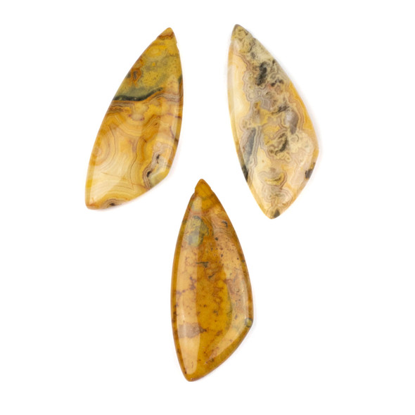 Crazy Lace Agate 20x48mm Top Drilled Triangle Free Form Pendant - 1 per bag