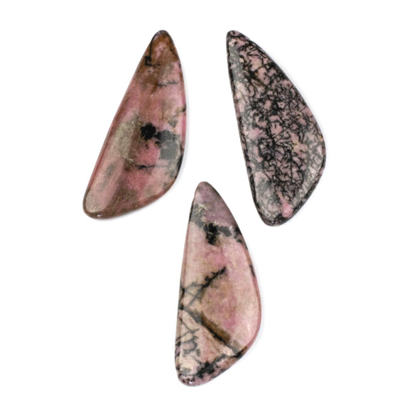 Rhodonite 20x48mm Top Drilled Triangle Free Form Pendant - 1 per bag