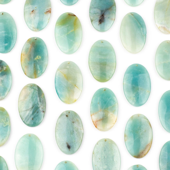 Amazonite 25x40mm Top Front to Back Drilled Oval Pendant - 1 per bag