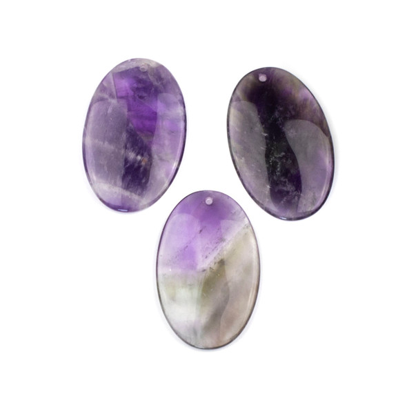 Amethyst 25x40mm Top Front to Back Drilled Oval Pendant - 1 per bag