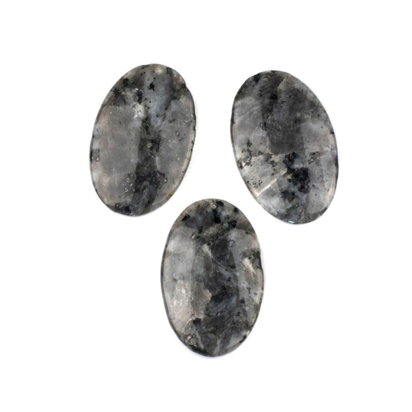 Black Labradorite/Larvikite 25x40mm Top Front to Back Drilled Oval Pendant - 1 per bag