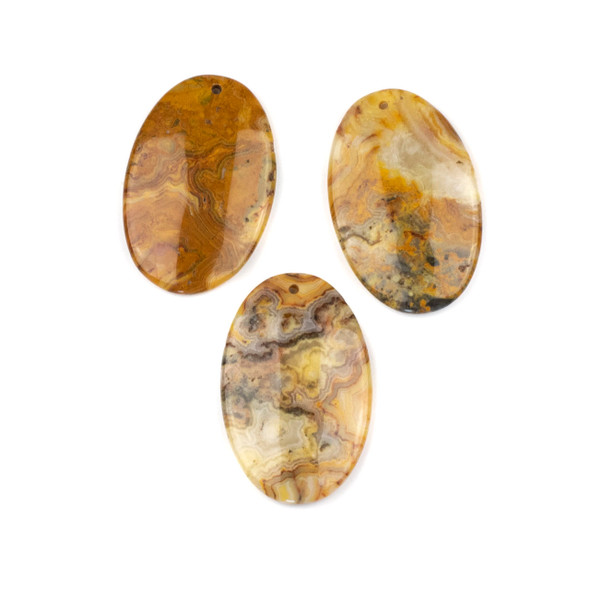 Crazy Lace Agate 25x40mm Top Front to Back Drilled Oval Pendant - 1 per bag