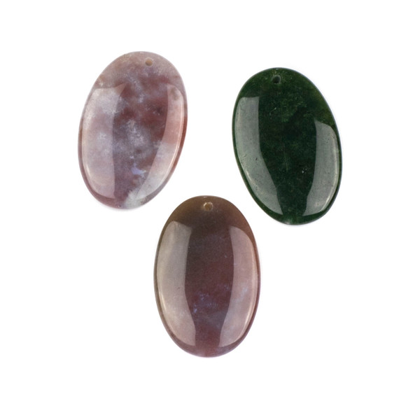 Fancy Jasper 25x40mm Top Front to Back Drilled Oval Pendant - 1 per bag