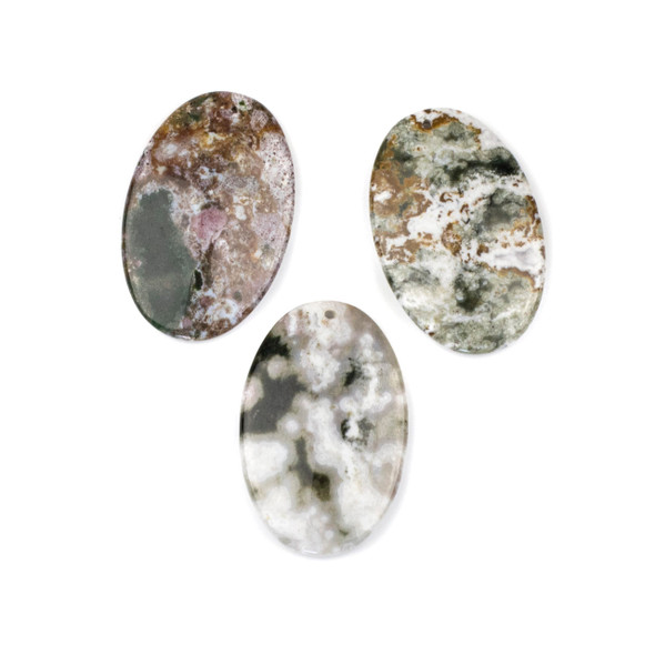 Ocean Jasper 25x40mm Top Front to Back Drilled Oval Pendant - 1 per bag