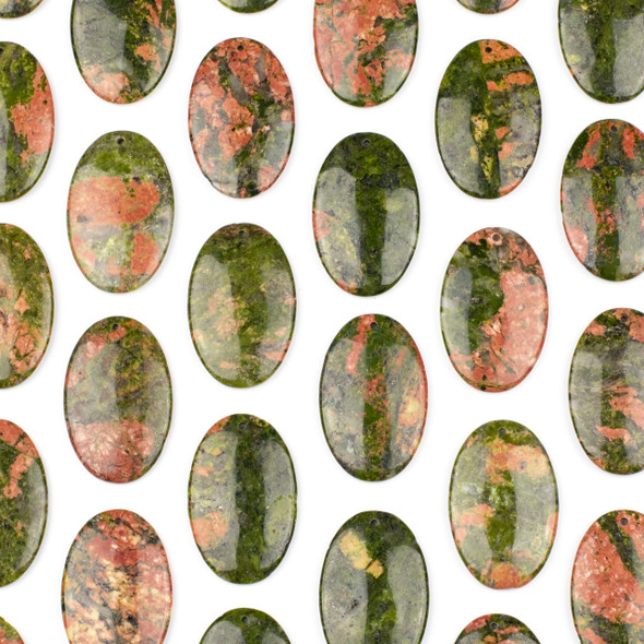 Unakite 25x40mm Top Front to Back Drilled Oval Pendant - 1 per bag