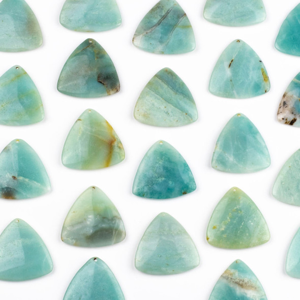 Amazonite 35mm Top Front to Back Drilled Puff Triangle Pendant - 1 per bag
