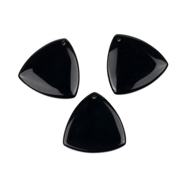 Black Obsidian 35mm Top Front to Back Drilled Puff Triangle Pendant - 1 per bag